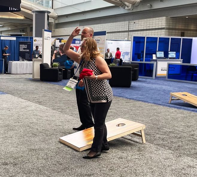 The ACS Rubber Division offers cornholl at IEC in Pittsburgh