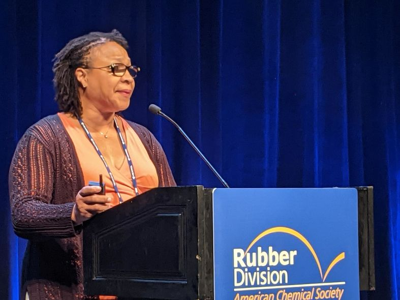 Kim Dempsey-Miller, 2021 chair of the Rubber Division, addresses attendees of the International Elastomer Conference
