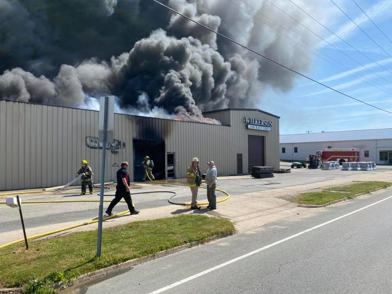 Fire damages aircraft tire retread company